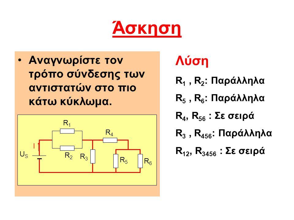 Υπολογισμός της ισοδύναμης αντίστασης Να υπολογίσετε την ισοδύναμη αντίσταση του κυκλώματος της προηγούμενης άσκησης, όταν: R 1 = R 2 = 10 Ω R 3 = 8 Ω R 4 = 2 Ω R 5 = R 6 = 12 Ω Λύση R 1 // R 2  R 12 =5 Ω R 5 // R 6  R 56 =6 Ω R 456 = R 4 +R 56 =2+6=8 Ω R 3 // R 456  R 3456 =4 Ω R ολ = R 12 +R 3456 =5+4=9 Ω R ολ = 9 Ω
