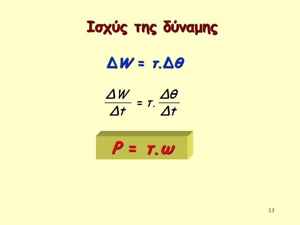 13 Ισχύς της δύναμης P = τ.ω ΔW = τ.Δθ