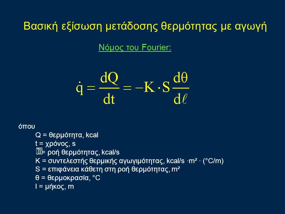 Bασική εξίσωση μετάδοσης θερμότητας με αγωγή όπου Q = θερμότητα, kcal t = χρόνος, s = ροή θερμότητας, kcal/s K = συντελεστής θερμικής αγωγιμότητας, kcal/s ·m² · (°C/m) S = επιφάνεια κάθετη στη ροή θερμότητας, m² θ = θερμοκρασία, °C l = μήκος, m Νόμος του Fourier: