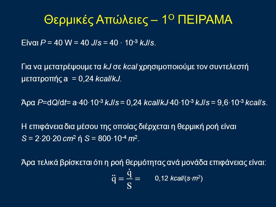 Είναι Ρ = 40 W = 40 J/s = 40 · 10 -3 kJ/s.