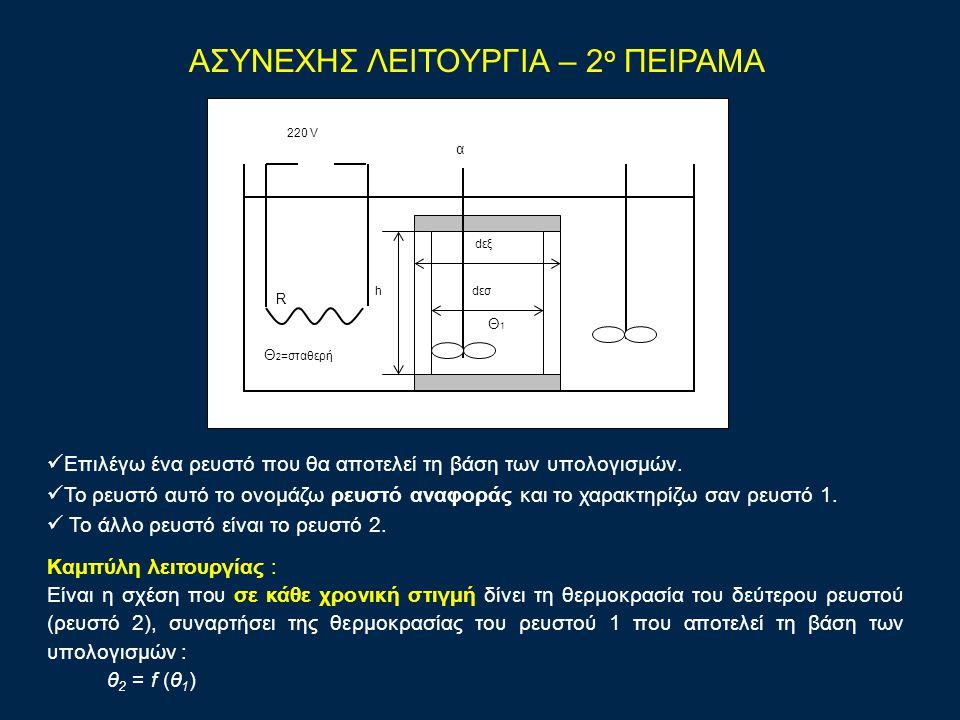 ΑΣΥΝΕΧΗΣ ΛΕΙΤΟΥΡΓΙΑ – 2 ο ΠΕΙΡΑΜΑ dεξ hdεσ Θ1Θ1 Θ 2 =σταθερή R 220 V α Επιλέγω ένα ρευστό που θα αποτελεί τη βάση των υπολογισμών.