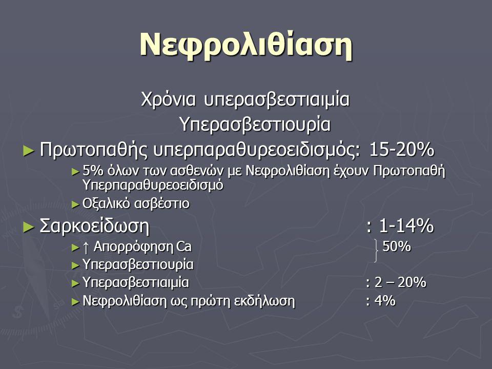 Νεφρολιθίαση Χρόνια υπερασβεστιαιμία Υπερασβεστιουρία ► Πρωτοπαθής υπερπαραθυρεοειδισμός: 15-20% ► 5% όλων των ασθενών με Νεφρολιθίαση έχουν Πρωτοπαθή Υπερπαραθυρεοειδισμό ► Οξαλικό ασβέστιο ► Σαρκοείδωση: 1-14% ► ↑ Απορρόφηση Ca 50% ► Υπερασβεστιουρία ► Υπερασβεστιαιμία: 2 – 20% ► Νεφρολιθίαση ως πρώτη εκδήλωση: 4%