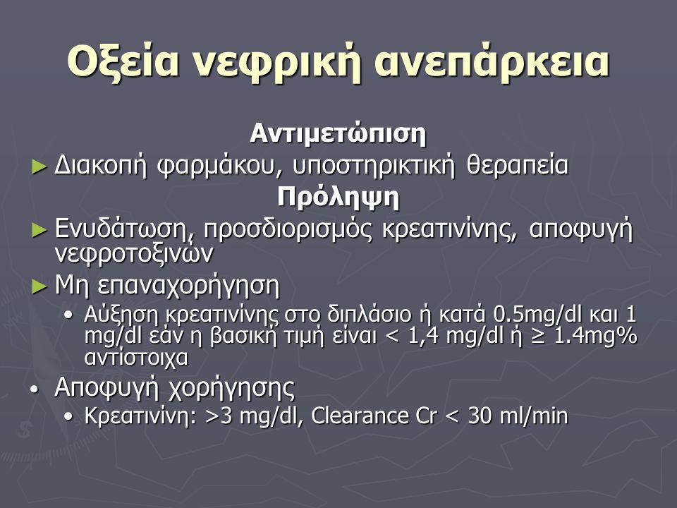 Οξεία νεφρική ανεπάρκεια Αντιμετώπιση ► Διακοπή φαρμάκου, υποστηρικτική θεραπεία Πρόληψη ► Ενυδάτωση, προσδιορισμός κρεατινίνης, αποφυγή νεφροτοξινών ► Μη επαναχορήγηση Αύξηση κρεατινίνης στο διπλάσιο ή κατά 0.5mg/dl και 1 mg/dl εάν η βασική τιμή είναι < 1,4 mg/dl ή ≥ 1.4mg% αντίστοιχαΑύξηση κρεατινίνης στο διπλάσιο ή κατά 0.5mg/dl και 1 mg/dl εάν η βασική τιμή είναι < 1,4 mg/dl ή ≥ 1.4mg% αντίστοιχα Αποφυγή χορήγησης Αποφυγή χορήγησης Κρεατινίνη: >3 mg/dl, Clearance Cr 3 mg/dl, Clearance Cr < 30 ml/min