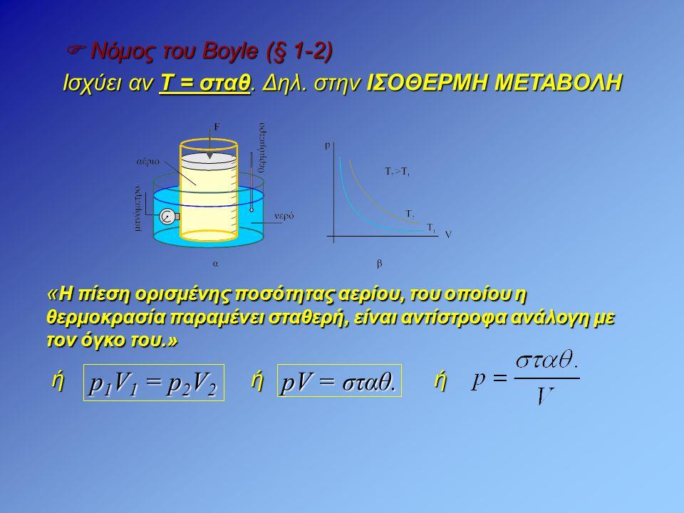  Νόμος του Boyle (§ 1-2) Ισχύει αν T = σταθ. Δηλ. στην ΙΣΟΘΕΡΜΗ ΜΕΤΑΒΟΛΗ « Η πίεση ορισμένης ποσότητας αερίου, του οποίου η θερμοκρασία παραμένει στα