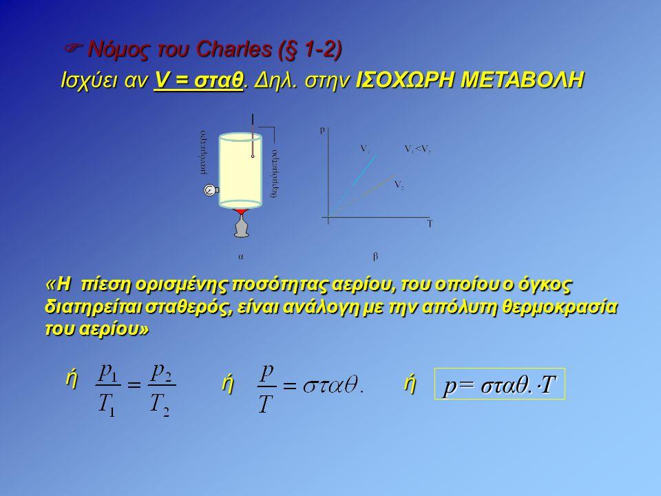  Νόμος του Charles (§ 1-2) Ισχύει αν V = σταθ. Δηλ. στην ΙΣΟΧΩΡΗ ΜΕΤΑΒΟΛΗ « Η πίεση ορισμένης ποσότητας αερίου, του οποίου ο όγκος διατηρείται σταθερ