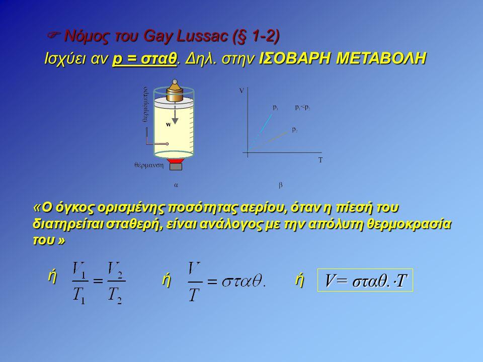  Νόμος του Gay Lussac (§ 1-2) Ισχύει αν p = σταθ. Δηλ. στην ΙΣΟΒΑΡΗ ΜΕΤΑΒΟΛΗ « Ο όγκος ορισμένης ποσότητας αερίου, όταν η πίεσή του διατηρείται σταθε