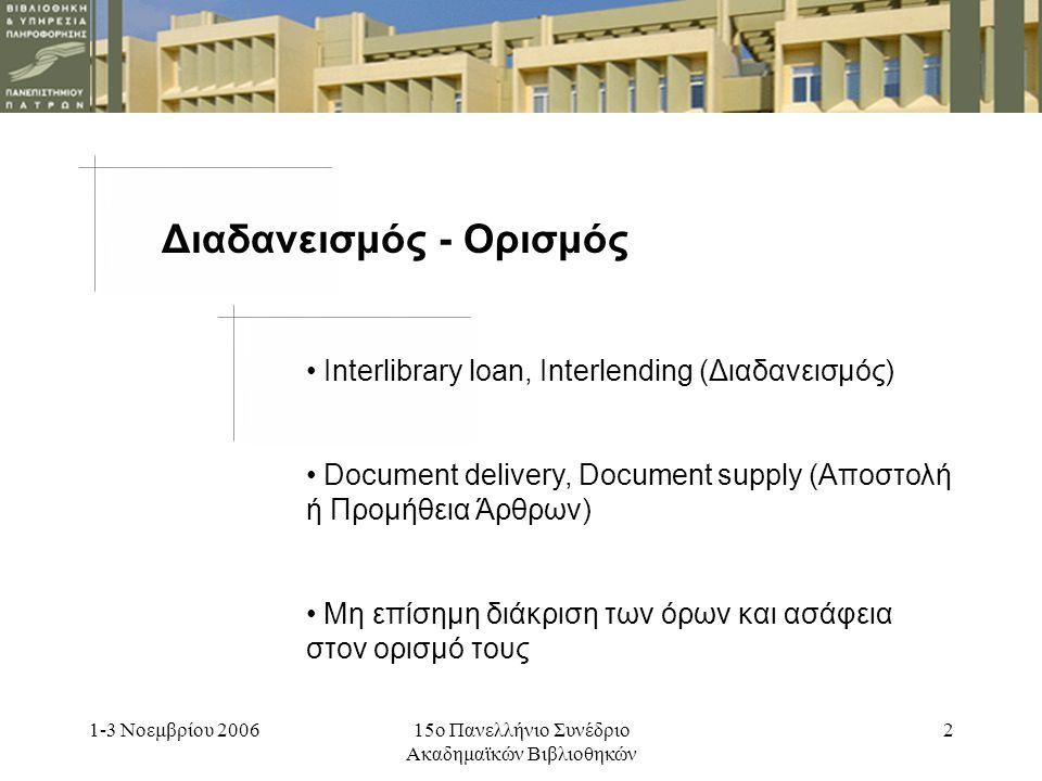 1-3 Νοεμβρίου 200615ο Πανελλήνιο Συνέδριο Ακαδημαϊκών Βιβλιοθηκών 2 Διαδανεισμός - Ορισμός Interlibrary loan, Interlending (Διαδανεισμός) Document delivery, Document supply (Αποστολή ή Προμήθεια Άρθρων) Μη επίσημη διάκριση των όρων και ασάφεια στον ορισμό τους