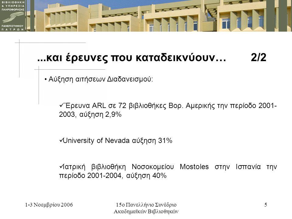 1-3 Νοεμβρίου 200615ο Πανελλήνιο Συνέδριο Ακαδημαϊκών Βιβλιοθηκών 5 Αύξηση αιτήσεων Διαδανεισμού: Έρευνα ARL σε 72 βιβλιοθήκες Βορ.