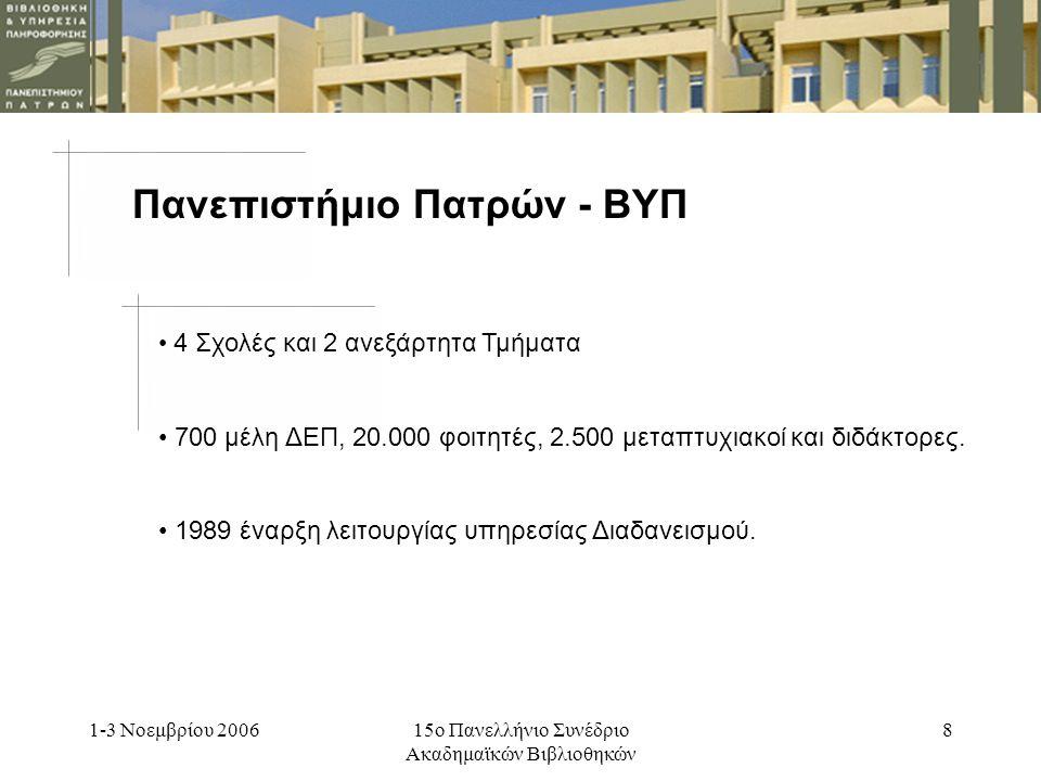 1-3 Νοεμβρίου 200615ο Πανελλήνιο Συνέδριο Ακαδημαϊκών Βιβλιοθηκών 8 Πανεπιστήμιο Πατρών - ΒΥΠ 4 Σχολές και 2 ανεξάρτητα Τμήματα 700 μέλη ΔΕΠ, 20.000 φοιτητές, 2.500 μεταπτυχιακοί και διδάκτορες.