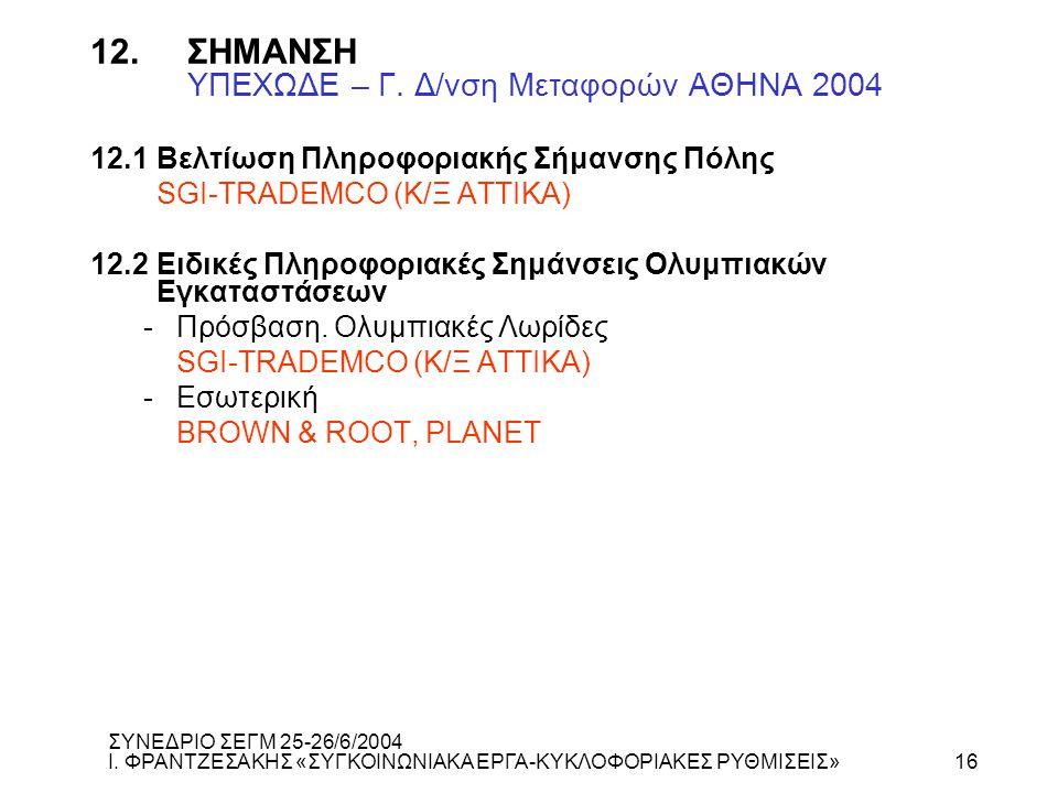 12.ΣΗΜΑΝΣΗ ΥΠΕΧΩΔΕ – Γ. Δ/νση Μεταφορών ΑΘΗΝΑ 2004 12.1Βελτίωση Πληροφοριακής Σήμανσης Πόλης SGI-TRADEMCO (Κ/Ξ ΑΤΤΙΚΑ) 12.2Ειδικές Πληροφοριακές Σημάν