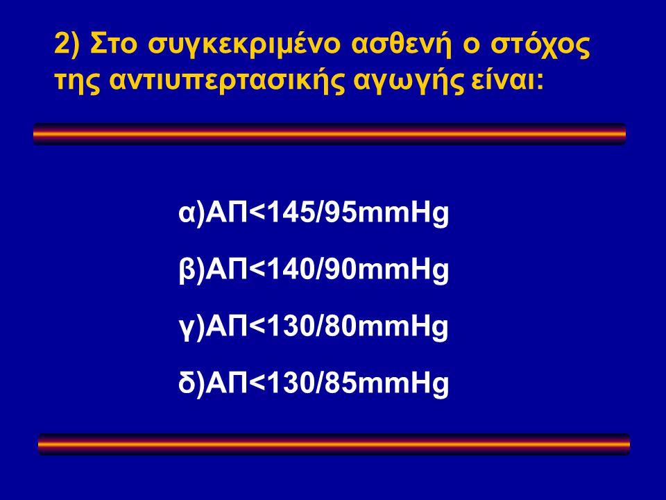 α)ΑΠ<145/95mmHg β)ΑΠ<140/90mmHg γ)ΑΠ<130/80mmHg δ)ΑΠ<130/85mmHg 2) Στο συγκεκριμένο ασθενή ο στόχος της αντιυπερτασικής αγωγής είναι: