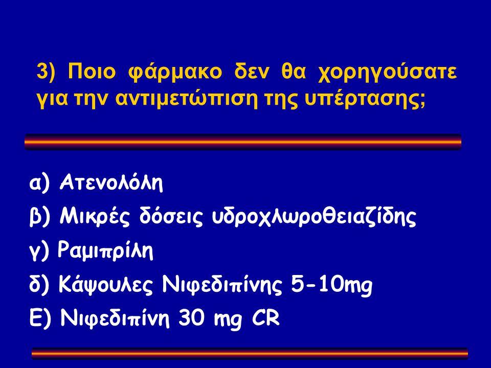 α) Ατενολόλη β) Μικρές δόσεις υδροχλωροθειαζίδης γ) Ραμιπρίλη δ) Κάψουλες Νιφεδιπίνης 5-10mg Ε) Νιφεδιπίνη 30 mg CR 3) Ποιο φάρμακο δεν θα χορηγούσατε για την αντιμετώπιση της υπέρτασης;