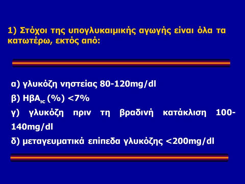α) γλυκόζη νηστείας 80-120mg/dl β) ΗβΑ ιc (%) <7% γ) γλυκόζη πριν τη βραδινή κατάκλιση 100- 140mg/dl δ) μεταγευματικά επίπεδα γλυκόζης <200mg/dl 1) Στόχοι της υπογλυκαιμικής αγωγής είναι όλα τα κατωτέρω, εκτός από:
