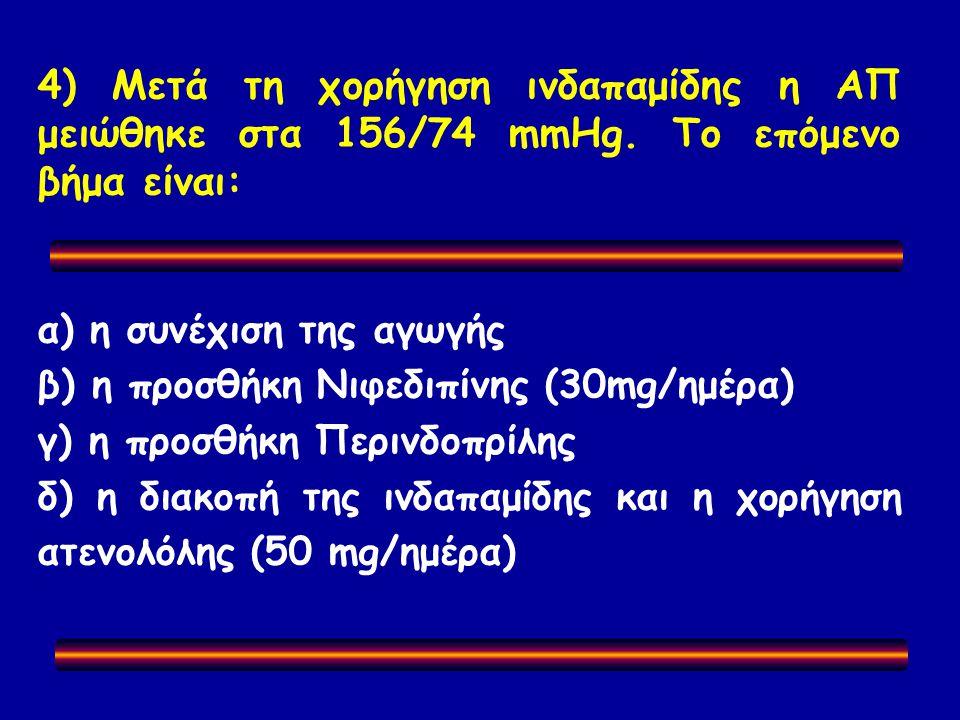 4) Μετά τη χορήγηση ινδαπαμίδης η ΑΠ μειώθηκε στα 156/74 mmHg.