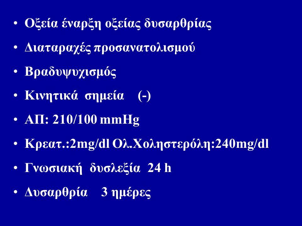 Οξεία έναρξη οξείας δυσαρθρίας Διαταραχές προσανατολισμού Βραδυψυχισμός Κινητικά σημεία (-) ΑΠ: 210/100 mmHg Κρεατ.:2mg/dl Ολ.Xοληστερόλη:240mg/dl Γνωσιακή δυσλεξία 24 h Δυσαρθρία 3 ημέρες