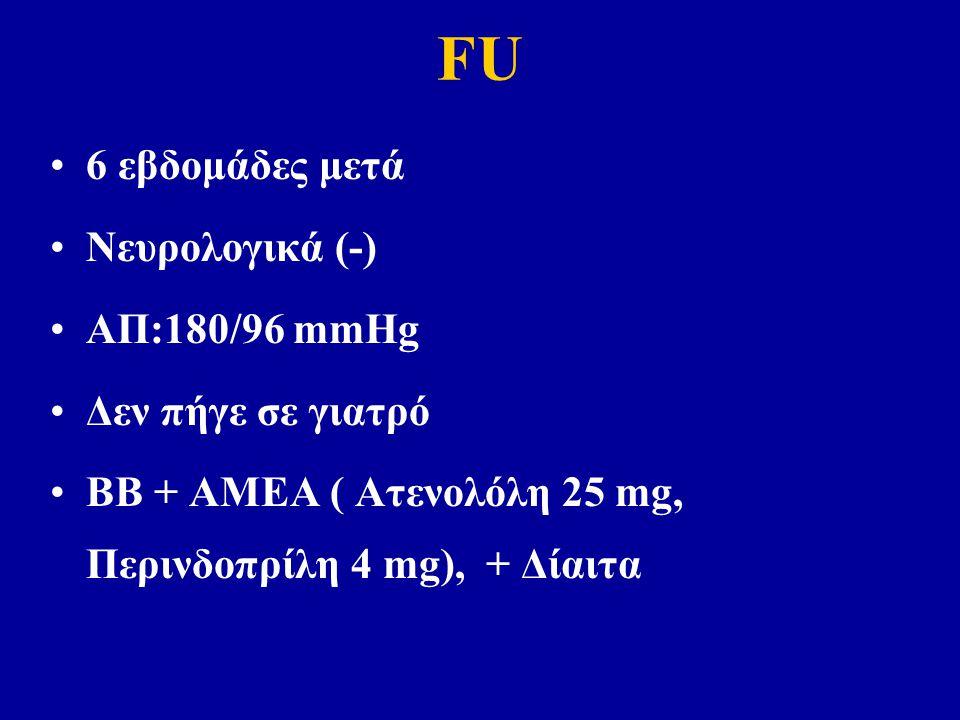 FU 6 εβδομάδες μετά Νευρολογικά (-) ΑΠ:180/96 mmHg Δεν πήγε σε γιατρό ΒΒ + ΑΜΕΑ ( Ατενολόλη 25 mg, Περινδοπρίλη 4 mg), + Δίαιτα