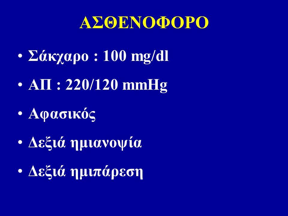 ΑΣΘΕΝΟΦΟΡΟ Σάκχαρο : 100 mg/dl AΠ : 220/120 mmHg Αφασικός Δεξιά ημιανοψία Δεξιά ημιπάρεση