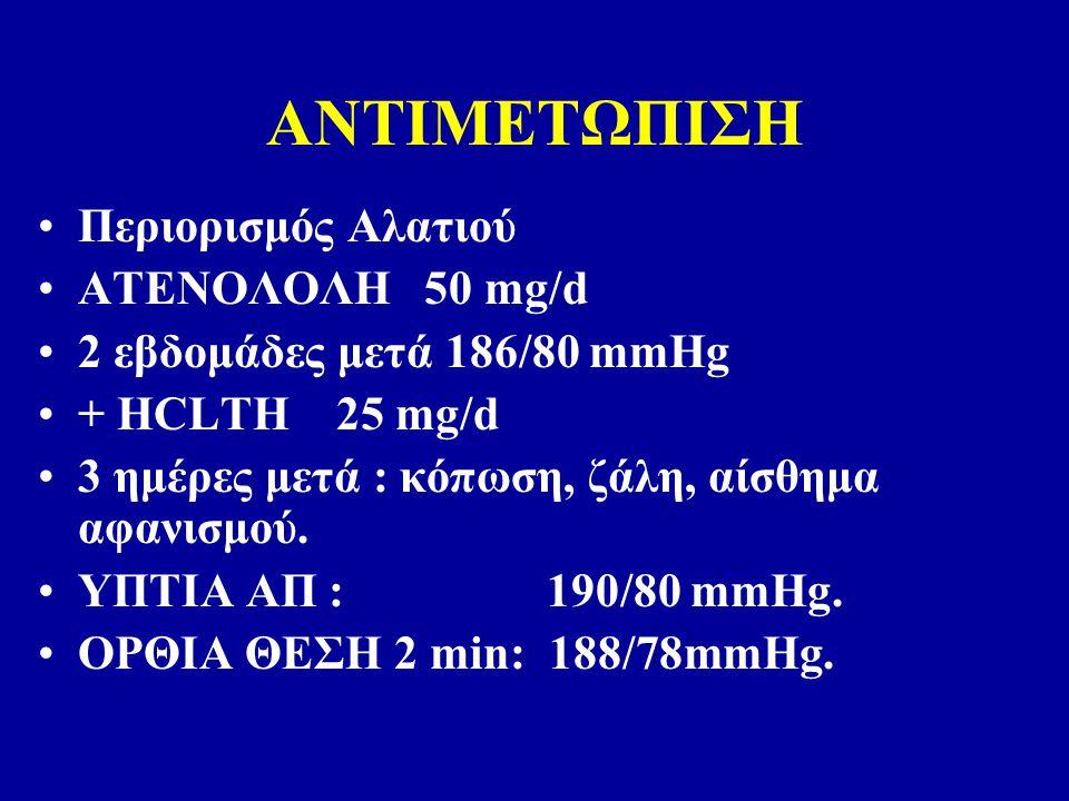 ΑΝΤΙΜΕΤΩΠΙΣΗ Περιορισμός Αλατιού ΑΤΕΝΟΛΟΛΗ 50 mg/d 2 εβδομάδες μετά 186/80 mmHg + HCLTH 25 mg/d 3 ημέρες μετά : κόπωση, ζάλη, αίσθημα αφανισμού.