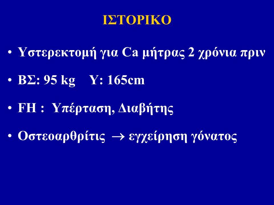 ΙΣΤΟΡΙΚΟ Υστερεκτομή για Ca μήτρας 2 χρόνια πριν ΒΣ: 95 kg Υ: 165cm FH : Υπέρταση, Διαβήτης Οστεοαρθρίτις  εγχείρηση γόνατος