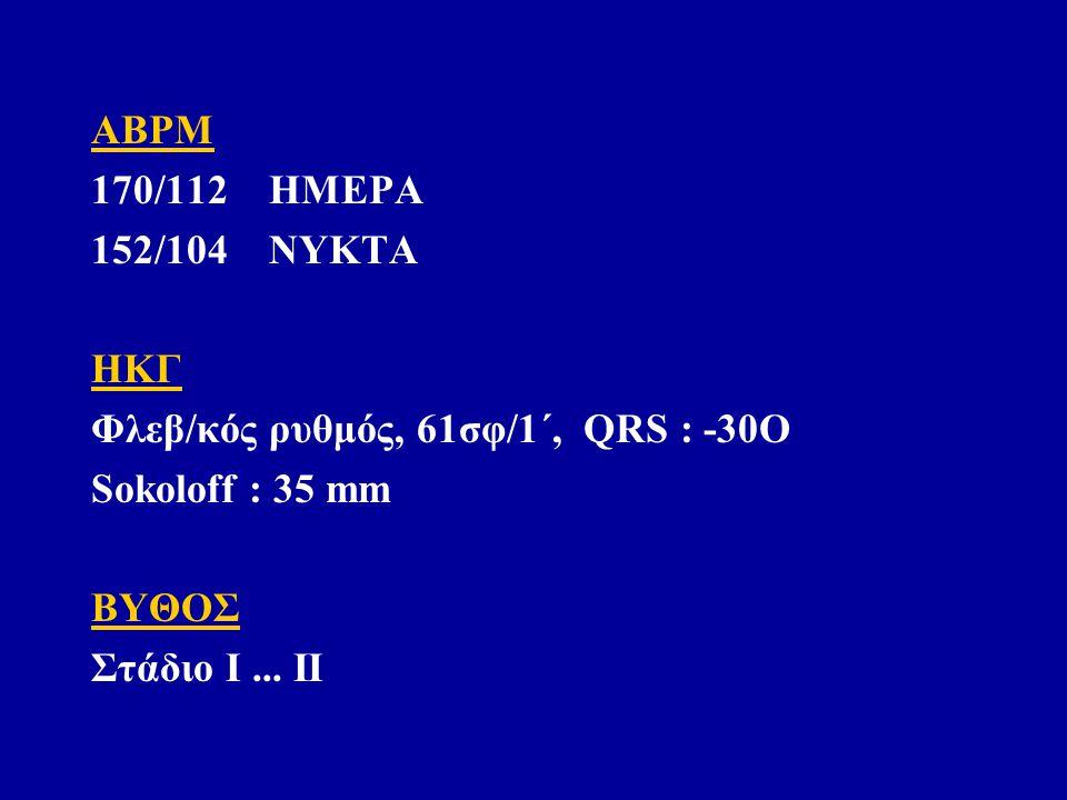 ABPM 170/112 ΗΜΕΡΑ 152/104 ΝΥΚΤΑ ΗΚΓ Φλεβ/κός ρυθμός, 61σφ/1΄, QRS : -30O Sokoloff : 35 mm ΒΥΘΟΣ Στάδιο Ι...
