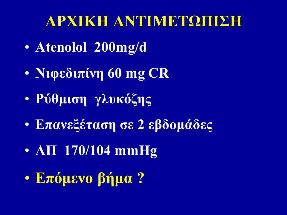 ΑΡΧΙΚΗ ΑΝΤΙΜΕΤΩΠΙΣΗ Atenolol 200mg/d Νιφεδιπίνη 60 mg CR Ρύθμιση γλυκόζης Επανεξέταση σε 2 εβδομάδες ΑΠ 170/104 mmHg Επόμενο βήμα ?