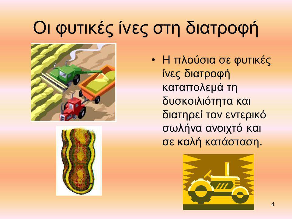 4 Οι φυτικές ίνες στη διατροφή Η πλούσια σε φυτικές ίνες διατροφή καταπολεμά τη δυσκοιλιότητα και διατηρεί τον εντερικό σωλήνα ανοιχτό και σε καλή κατάσταση.