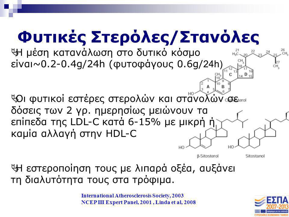 Φυτικές Στερόλες/Στανόλες International Atherosclerosis Society, 2003 NCEP III Expert Panel, 2001, Linda et al, 2008  Η μέση κατανάλωση στο δυτικό κό