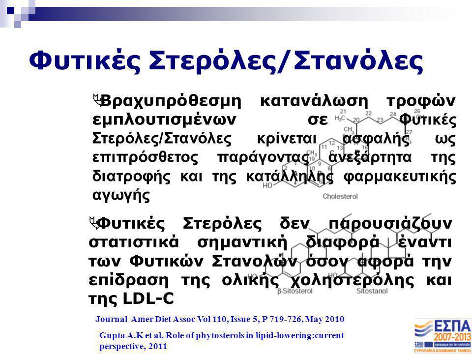 Φυτικές Στερόλες/Στανόλες Journal Amer Diet Assoc Vol 110, Issue 5, P 719-726, May 2010  Φυτικές Στερόλες δεν παρουσιάζουν στατιστικά σημαντική διαφο