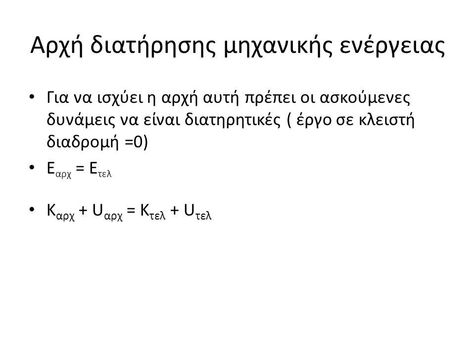 Αρχή διατήρησης μηχανικής ενέργειας Για να ισχύει η αρχή αυτή πρέπει οι ασκούμενες δυνάμεις να είναι διατηρητικές ( έργο σε κλειστή διαδρομή =0) Ε αρχ