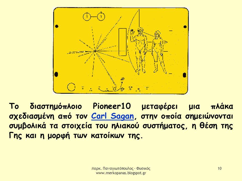 Μερκ. Παναγιωτόπουλος - Φυσικός www.merkopanas.blogspot.gr 10 Το διαστημόπλοιο Pioneer10 μεταφέρει μια πλάκα σχεδιασμένη από τον Carl Sagan, στην οποί