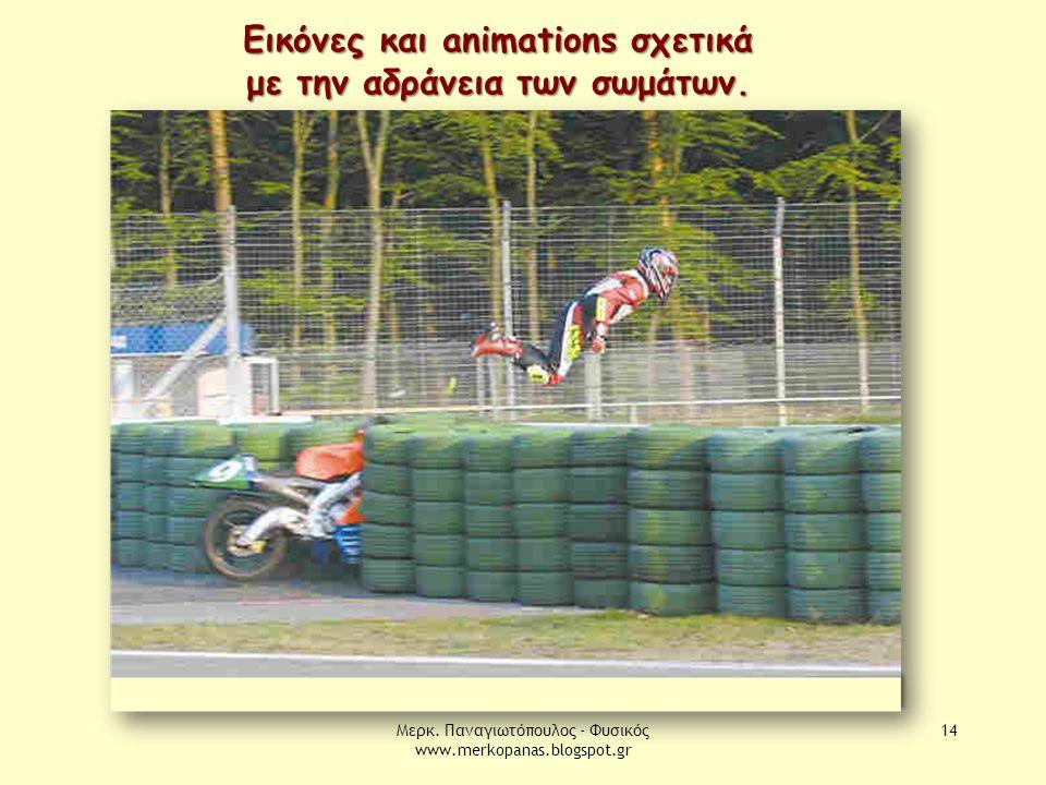 Μερκ. Παναγιωτόπουλος - Φυσικός www.merkopanas.blogspot.gr 14 Εικόνες και animations σχετικά με την αδράνεια των σωμάτων.