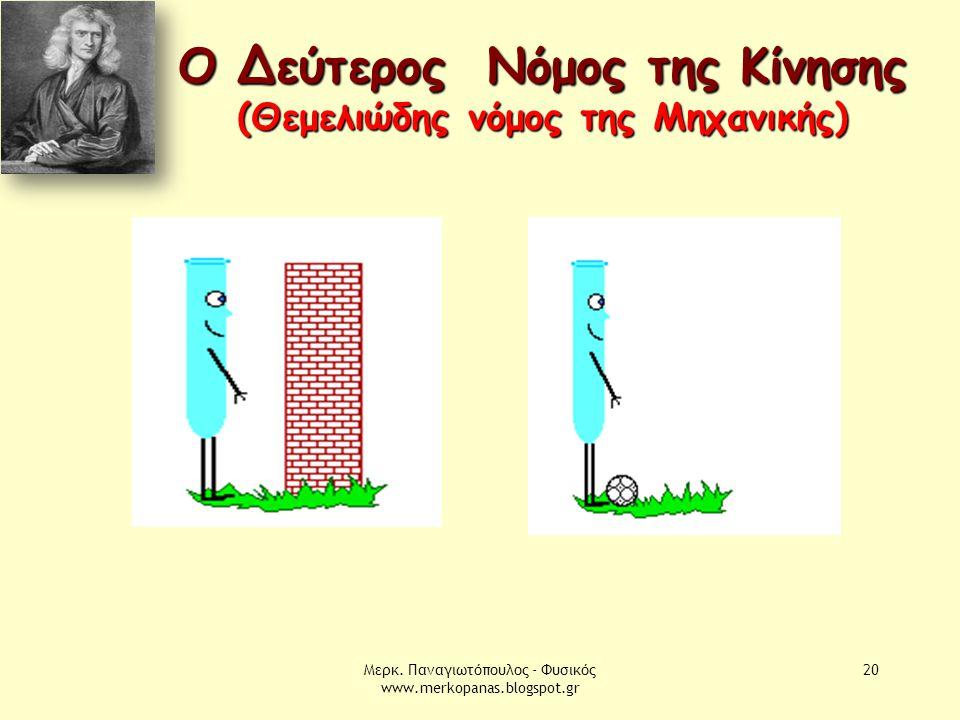 Μερκ. Παναγιωτόπουλος - Φυσικός www.merkopanas.blogspot.gr 20 Ο Δεύτερος Νόμος της Κίνησης (Θεμελιώδης νόμος της Μηχανικής)