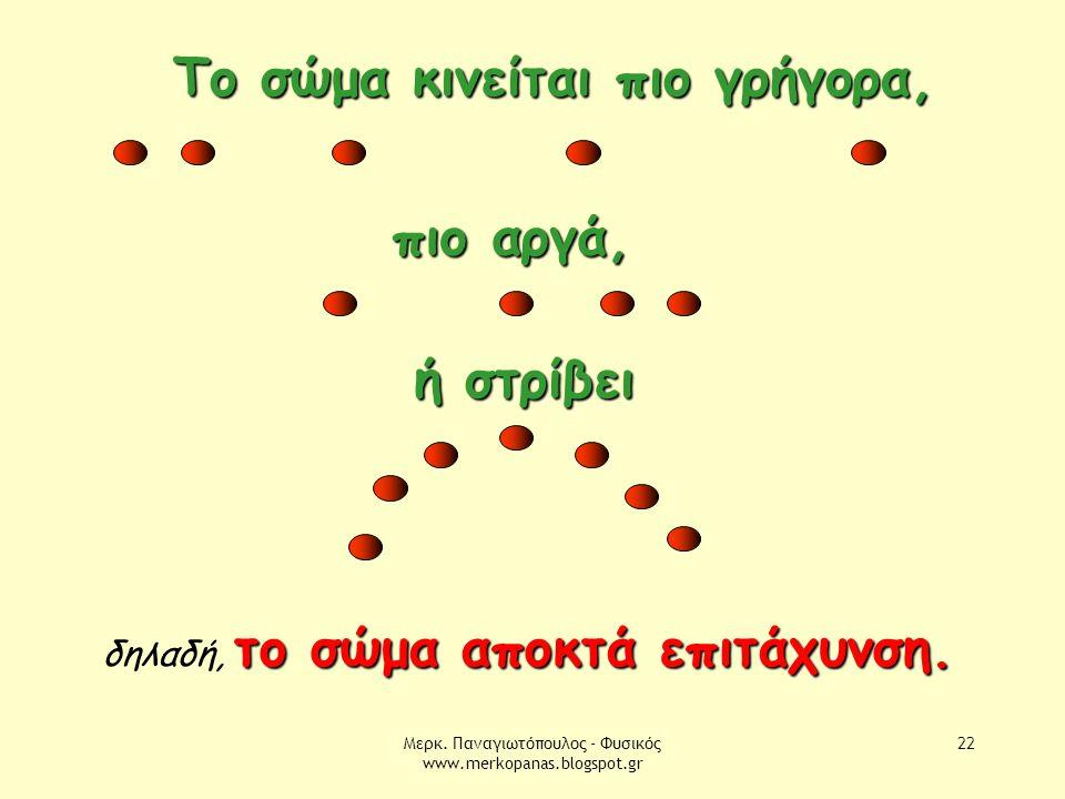 Μερκ. Παναγιωτόπουλος - Φυσικός www.merkopanas.blogspot.gr 22 Το σώμα κινείται πιο γρήγορα, πιο αργά, ή στρίβει το σώμα αποκτά επιτάχυνση. δηλαδή, το