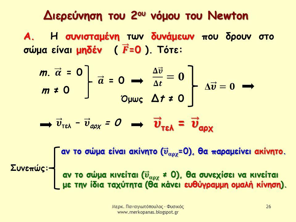Μερκ. Παναγιωτόπουλος - Φυσικός www.merkopanas.blogspot.gr 26 Διερεύνηση του 2 ου νόμου του Newton m ≠ 0 Όμως Δt ≠ 0 Συνεπώς: