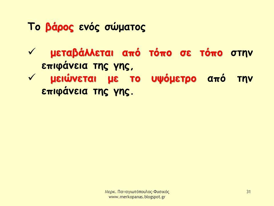 Μερκ. Παναγιωτόπουλος-Φυσικός www.merkopanas.blogspot.gr 31 βάρος Το βάρος ενός σώματος μεταβάλλεται από τόπο σε τόπο μεταβάλλεται από τόπο σε τόπο στ