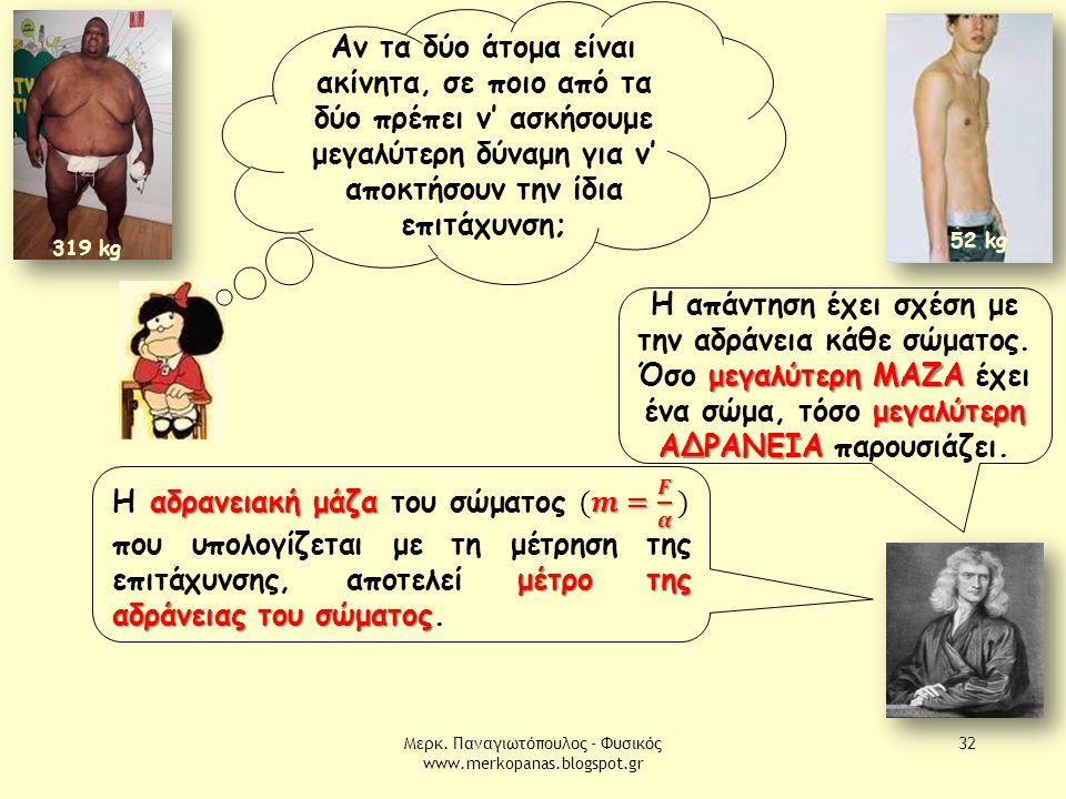 Μερκ. Παναγιωτόπουλος - Φυσικός www.merkopanas.blogspot.gr 32 319 kg 52 kg 319 kg Αν τα δύο άτομα είναι ακίνητα, σε ποιο από τα δύο πρέπει ν' ασκήσουμ