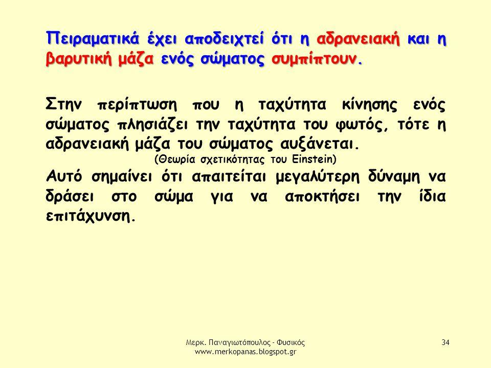Μερκ. Παναγιωτόπουλος - Φυσικός www.merkopanas.blogspot.gr 34 Πειραματικά έχει αποδειχτεί ότι η αδρανειακή και η βαρυτική μάζα ενός σώματος συμπίπτουν