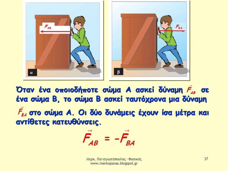Μερκ. Παναγιωτόπουλος - Φυσικός www.merkopanas.blogspot.gr 37 Όταν ένα οποιοδήποτε σώμα Α ασκεί δύναμη σε ένα σώμα Β, το σώμα B ασκεί ταυτόχρονα μια δ