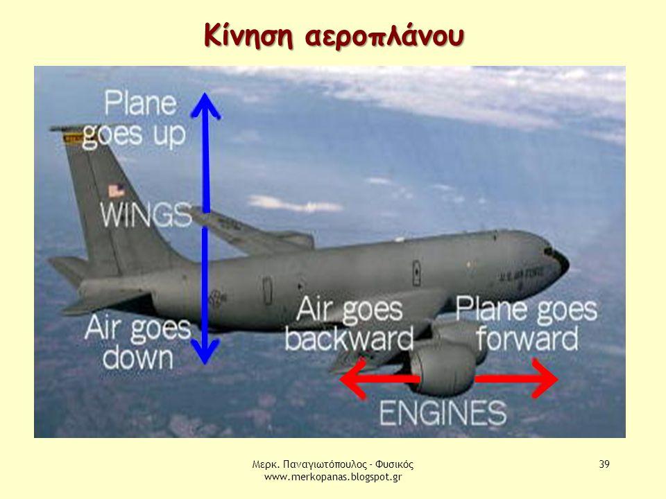 Μερκ. Παναγιωτόπουλος - Φυσικός www.merkopanas.blogspot.gr 39 Κίνηση αεροπλάνου