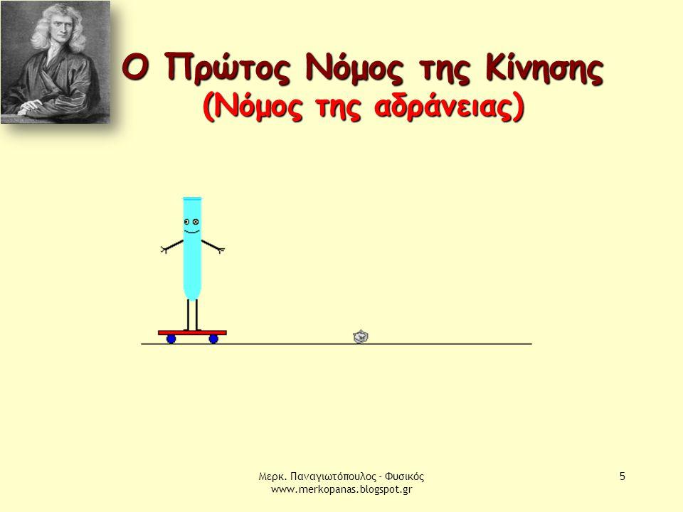 Μερκ. Παναγιωτόπουλος - Φυσικός www.merkopanas.blogspot.gr 5 Ο Πρώτος Νόμος της Κίνησης (Νόμος της αδράνειας)