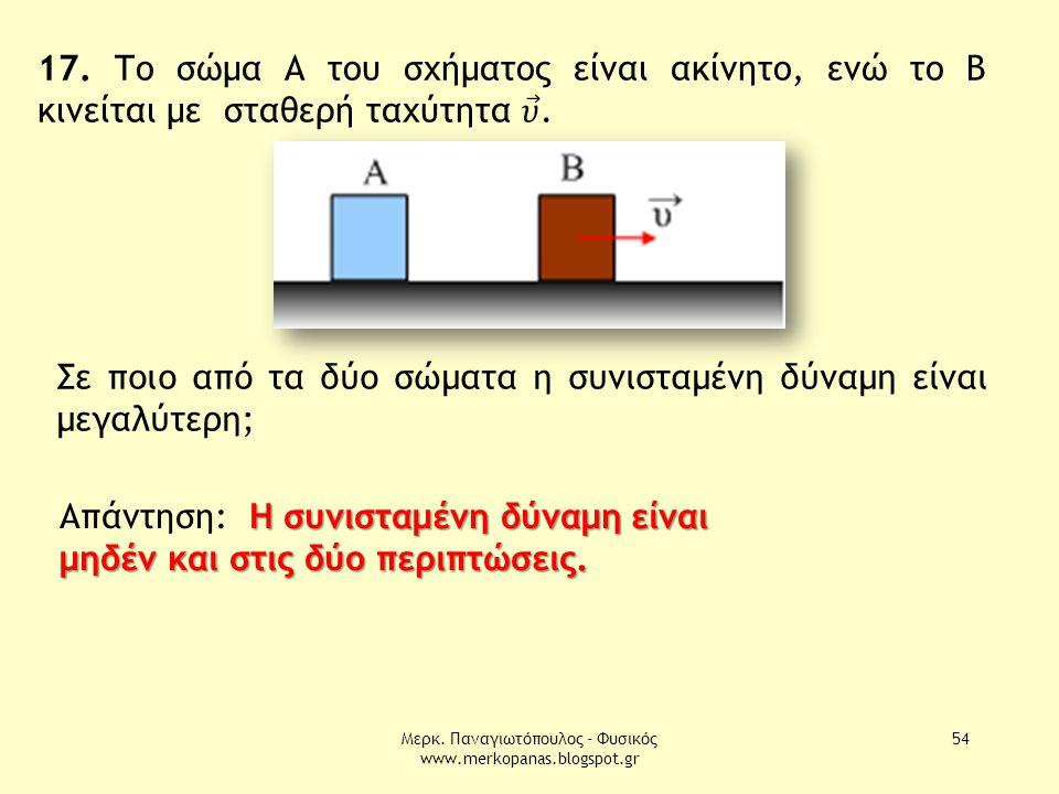 Μερκ. Παναγιωτόπουλος - Φυσικός www.merkopanas.blogspot.gr 54 Σε ποιο από τα δύο σώματα η συνισταμένη δύναμη είναι μεγαλύτερη; Η συνισταμένη δύναμη εί