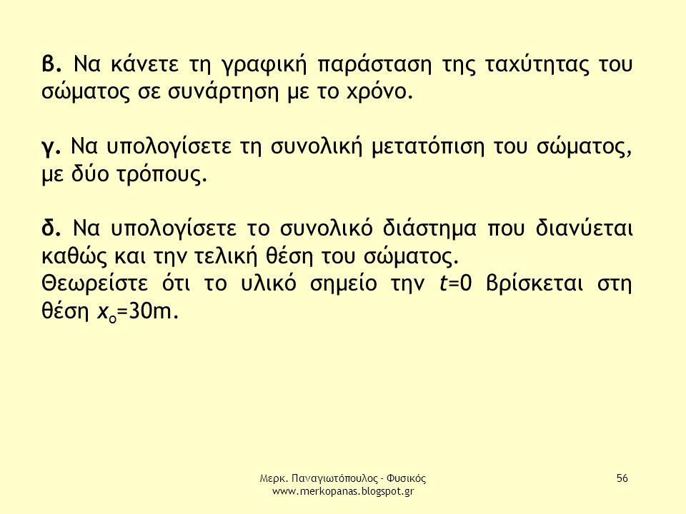 Μερκ. Παναγιωτόπουλος - Φυσικός www.merkopanas.blogspot.gr 56 β. Να κάνετε τη γραφική παράσταση της ταχύτητας του σώματος σε συνάρτηση με το χρόνο. γ.