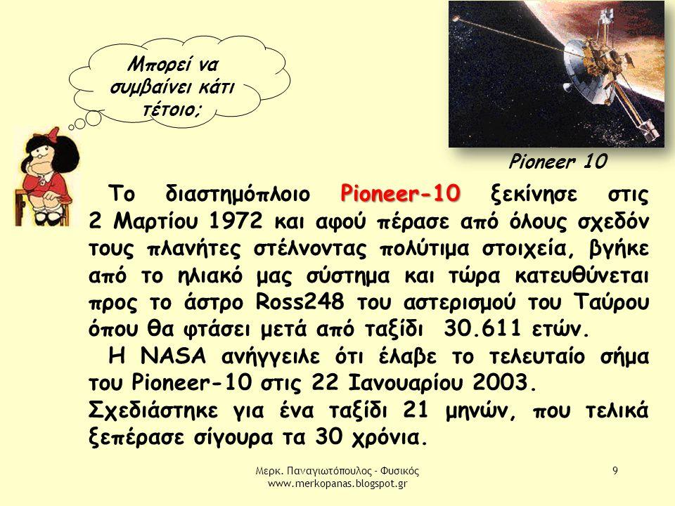Μερκ. Παναγιωτόπουλος - Φυσικός www.merkopanas.blogspot.gr 9 Μπορεί να συμβαίνει κάτι τέτοιο; Pioneer 10 Pioneer-10 Το διαστημόπλοιο Pioneer-10 ξεκίνη