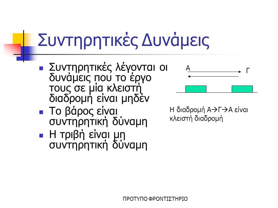 ΠΡΟΤΥΠΟ ΦΡΟΝΤΙΣΤΗΡΙΟ Ελατήριο- Νόμος Hooke Ένα ελατήριο θεωρείται ιδανικό όταν Δεν έχει μάζα Η δύναμη που ασκεί δίνεται από τον νόμο του Hooke: k=σταθερά του ελατηρίου, εκφράζει πόσο σκληρό είναι το ελατήριο, μετράται σε Ν/m x=επιμήκυνση ή συσπείρωση του ελατηρίου Η F ελ λέγεται δύναμη επαναφοράς διότι τείνει να επαναφέρει το ελατήριο στο φυσικό του μήκος Η F ελ είναι συντηρητική δύναμη Φυσικό μήκος x F ελ x Φυσικό μήκος επιμύκυνση συσπείρωση F ελ