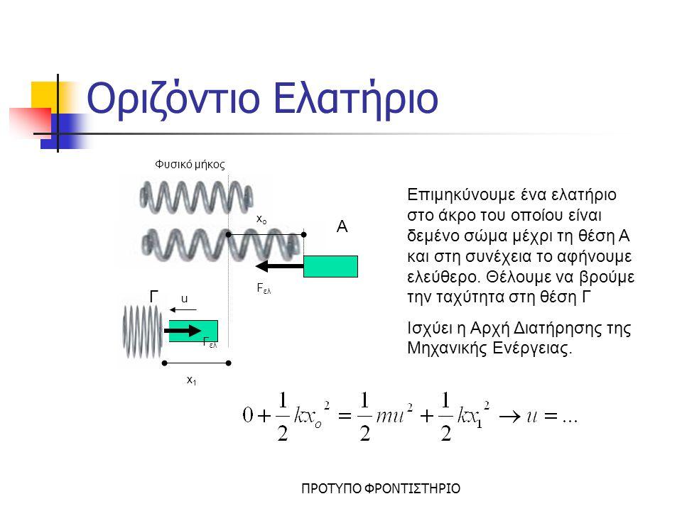 ΠΡΟΤΥΠΟ ΦΡΟΝΤΙΣΤΗΡΙΟ Κατακόρυφο Ελατήριο Όταν ένα σώμα είναι δεμένο σε κατακόρυφο ελατήριο τότε θα έχει: Κινητική ενέργεια Κ, Ενέργεια παραμόρφωσης U ελ, Βαρυτική δυναμική ενέργεια U h x Φ.Μ