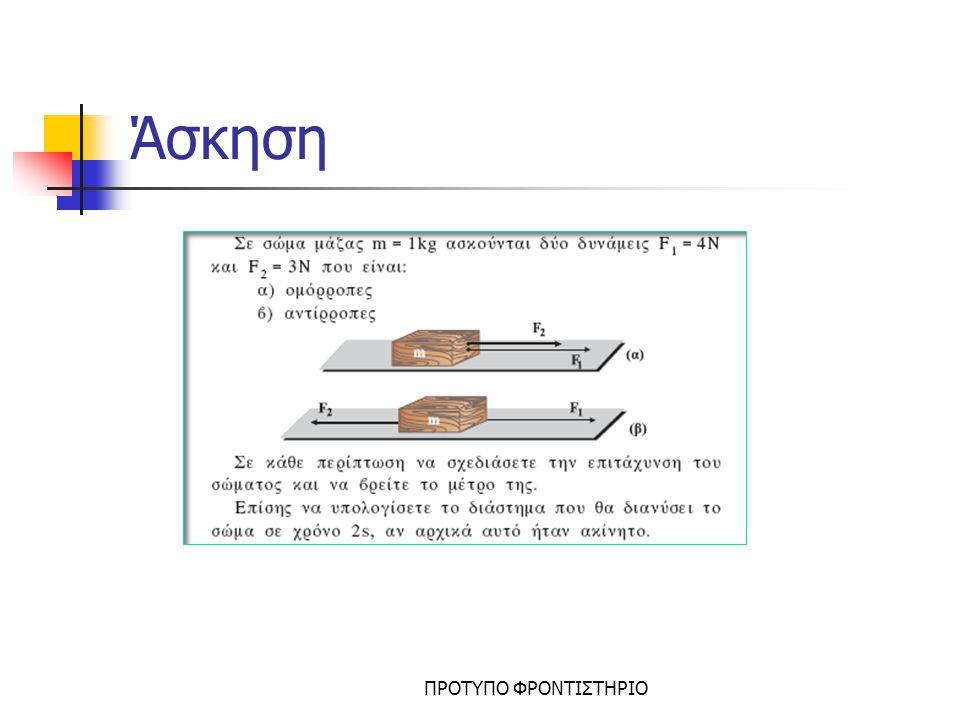 2ος Νόμος Νεύτωνα  Ισχύουν οι τύποι της επιταχυνόμενης ή επιβραδυνόμενης κίνησης  Από τον τύπο ΣF=m.a μπορούμε να υπολογίσουμε την επιτάχυνση ή την δύναμη  Πρέπει να έχουμε σχεδιάσει όλες τις δυνάμεις που ασκούνται στο σώμα για να εκφράσουμε σωστά το ΣF ΠΡΟΤΥΠΟ ΦΡΟΝΤΙΣΤΗΡΙΟ