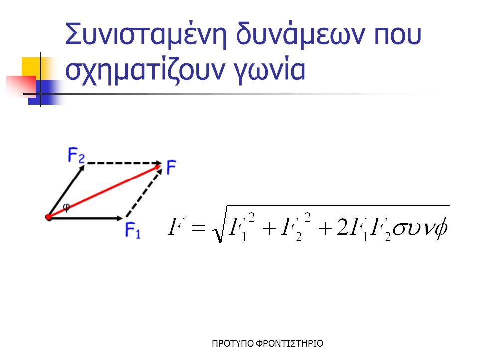 Ανάλυση Δύναμης Θεωρούμε τους άξονες χ και y Σχεδιάζουμε τις δύο συνιστώσες F x και F Y Εάν φ είναι η γωνία που σχηματίζει η F με τον άξονα χ τότε F x =F.συνφ F Y =F.ημφ FxFx FYFY F φ F x F Y συνιστώσες δυνάμεις