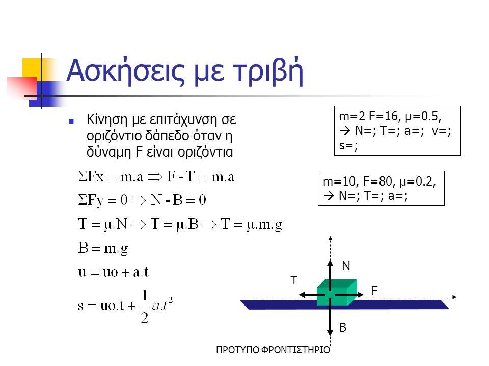 ΠΡΟΤΥΠΟ ΦΡΟΝΤΙΣΤΗΡΙΟ Ασκήσεις με τριβή Κίνηση σε οριζόντιο δάπεδο όταν η δύναμη F σχηματίζει γωνία φ F N T FxFx FyFy Β m=4, F=20, φ=30, μ=0.2,  N=; T=; m=10, F=50, φ=60, T=; i) v=σταθ ii)a=2
