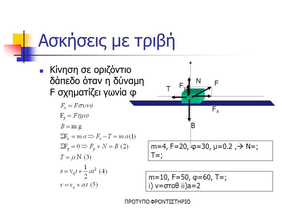 ΠΡΟΤΥΠΟ ΦΡΟΝΤΙΣΤΗΡΙΟ Ασκήσεις με τριβή Κίνηση σε οριζόντιο δάπεδο το σώμα έχει αρχική ταχύτητα v 0 όπου δεν υπάρχει η δύναμη F και το σώμα σταματά λόγω της τριβής Η κίνηση είναι επιβραδυνόμενη V=0 N T B s v0v0 m=4, s=36, μ=0.2  a=; vo=; t=; vo=20, a=4,  μ=;