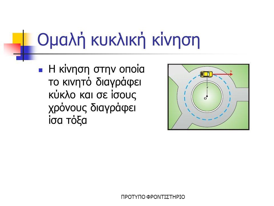 ΠΡΟΤΥΠΟ ΦΡΟΝΤΙΣΤΗΡΙΟ Μεγέθη στην ομαλή κυκλική Μεγέθη Περίοδος Τ: ο χρόνος που χρειάζεται το κινητό για να κάνει μία στροφή Συχνότητα f: ο αριθμός των στροφών στη μονάδα του χρόνου Ταχύτητα v Γωνιακή ταχύτητα ω Κεντρομόλος επιτάχυνση α κ